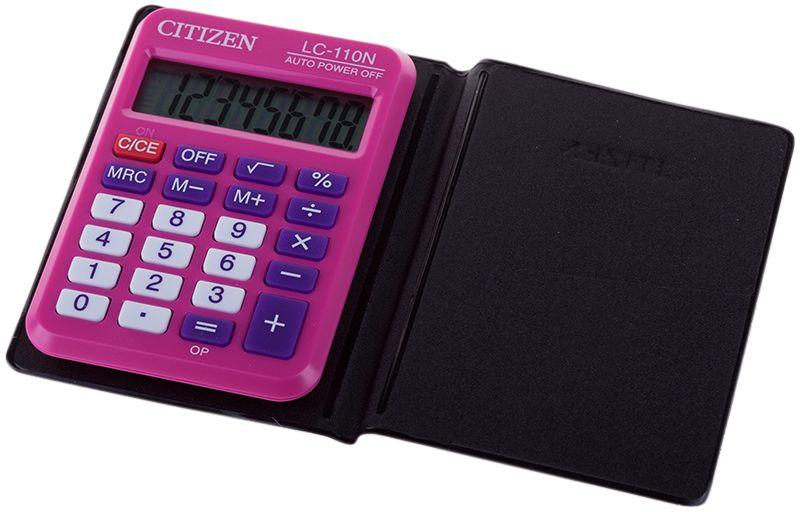 Citizen Карманный калькулятор LC-110N цвет розовыйLC-110NPKCFSКалькулятор выполняет простейшие арифметические действия, операции с процентами и квадратным корнем, кнопку отключения. Яркая расцветка. Картонная упаковка.