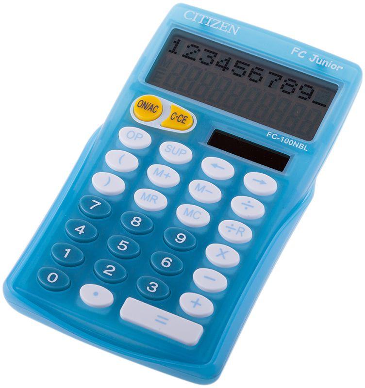Citizen Настольный калькулятор FC-100N цвет голубойFC-100NBLКалькулятор карманный FC, 10 разрядов, 2-х строчный, 2-е питание, вычисление со скобками, деление числа с остатками, сиреневый корпус, карт. упак.