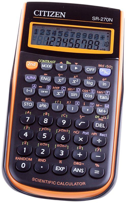 Citizen Инженерный калькулятор цвет оранжевый SR-270NORSR-270NORНаучный калькулятор непрограммируемый SR, 10+2 разрядов, 2 строчный дисплей, 236 функций, черный/оранжевый корпус, картонная упаковка, Сертифицирован для ЕГЭ.