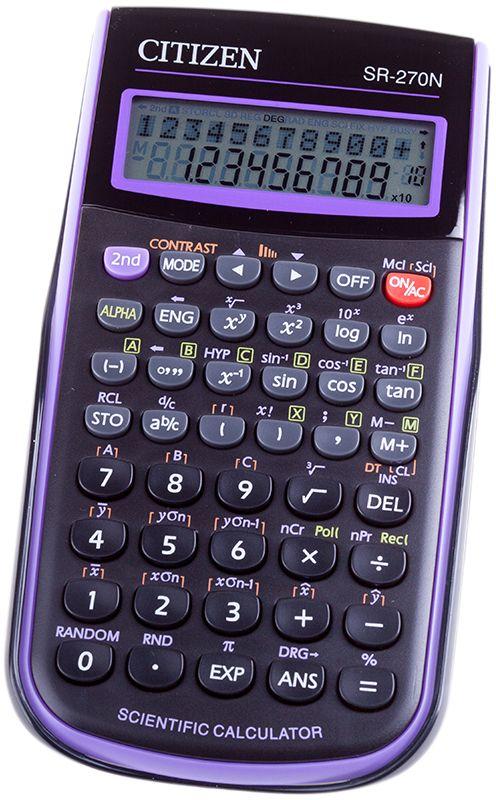 Citizen Инженерный калькулятор SR-270N цвет фиолетовыйSR-270NPUКалькулятор сертифицирован к использованию на ЕГЭ в системе «Учсерт» Российской Академии Образования. Допускается на ЕГЭ по физике, химии, географии. Производит расчет по 236 научным формулам. Выполняет следующие математические операции: возведение в квадрат и в степень (-1), вычисление квадратного корня и процентов, вычисления с числом Пи, статистические расчеты. Возможна настройка представления десятичных чисел и округления значений. Калькулятор содержит функции запоминания уравнений, вызова последнего полученного результата, память на 7 прошлых действий, сохранение данных в памяти в случае выключения питания. Режим автоотключения. Закрывается пластиковой крышкой.