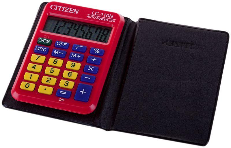 Citizen Карманный калькулятор LC-110N цвет красныйLC-110NRDКалькулятор выполняет простейшие арифметические действия, операции с процентами и квадратным корнем, кнопку отключения. Яркая расцветка. Картонная упаковка.