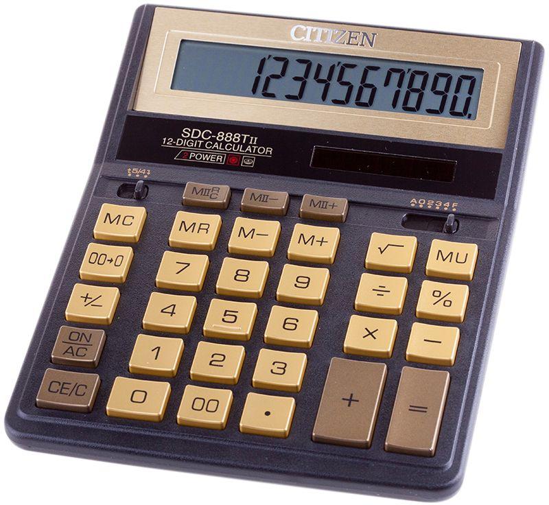 Citizen Настольный калькулятор SDC-888TII цвет черный золотистыйSDC-888TIIGEНовинка! Бухгалтерский настольный калькулятор в золотом исполнении. 12-ти разрядный, расчет наценки, двойная память, смена знака, расчет процентов, вычисление квадратного корня, двойное питание.