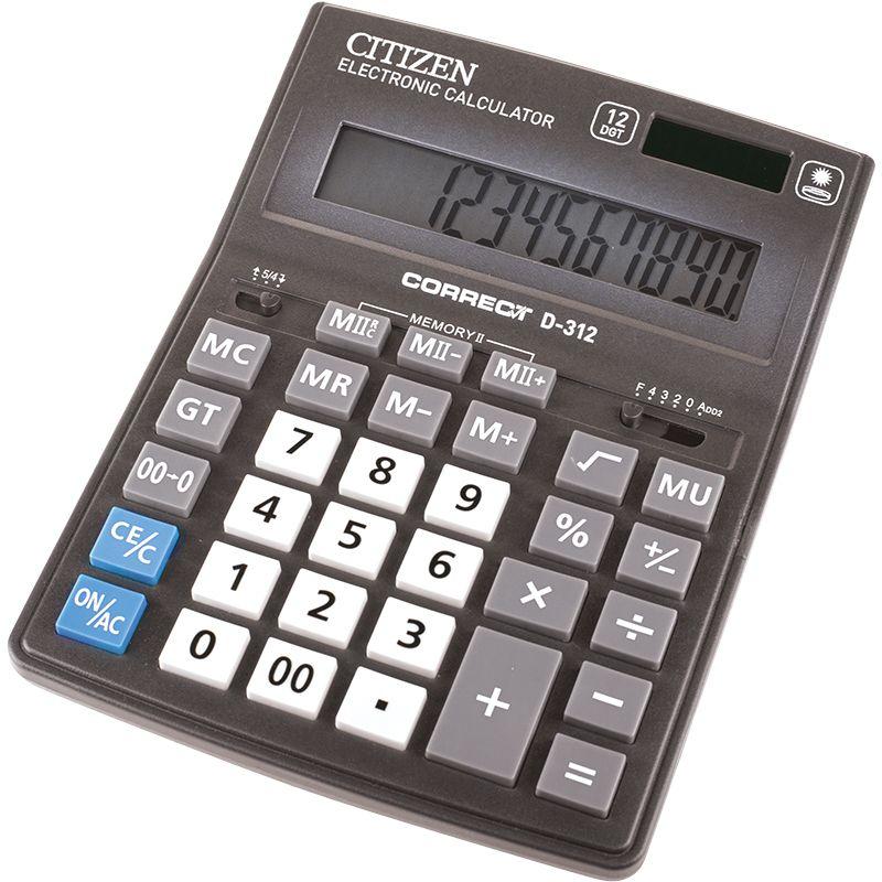Citizen Настольный калькулятор D-312D-312Бухгалтерский настольный калькулятор, 12-ти разрядный, квадратный корень, расчет наценки, вычисление процентов, двойная память, функция итогового суммирования, двойное питание.