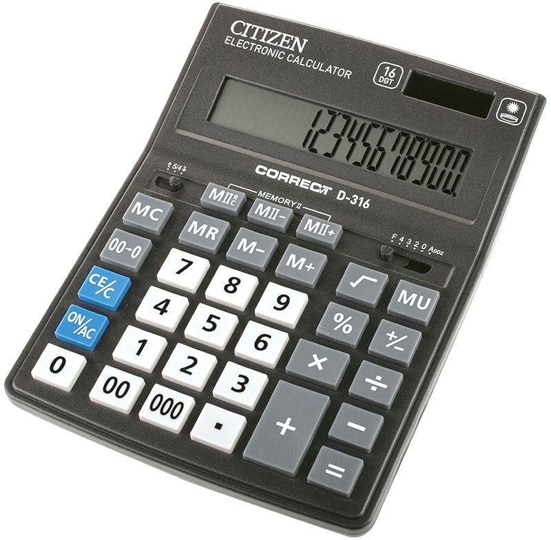 Citizen Настольный калькулятор D-316D-316Бухгалтерский настольный калькулятор, 16-ти разрядный, расчет наценки, квадратный корень, вычисление процентов, двойная память, двойное питание.