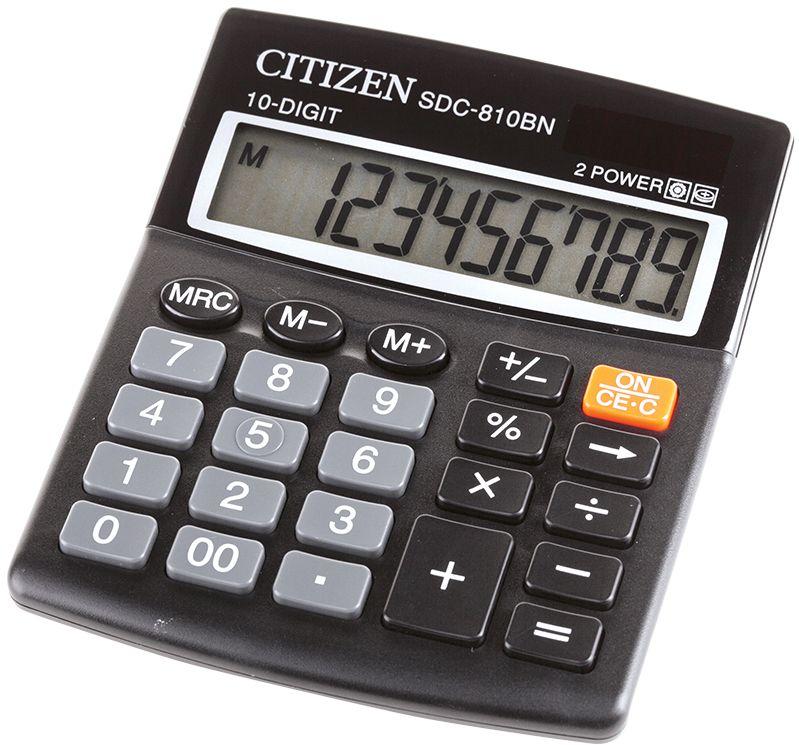 Citizen Настольный калькулятор цвет черный SDC-810BNSDC-810BNКлавиша двойного нуля, вычисление процентов, смены знака, вычисления процентов, три клавиши памяти. Режим автоотключения. Размеры 156 х. 156 х 31,3 мм.