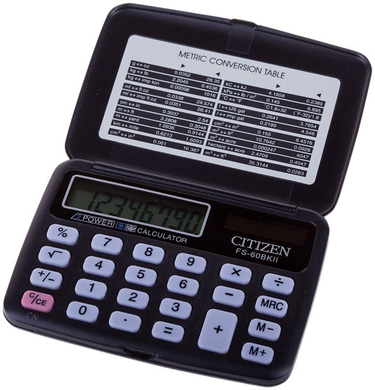 Citizen Карманный калькулятор FS-60BKIIFS-60BKIIИмеет клавиши смены знака, вычисления корня, процентов, три клавиши памяти. Складной карманный калькулятор, 8-разрядный дисплей, двойное питание. Размеры 69 х 96,5 х 11,5 мм. Вес 46 г.