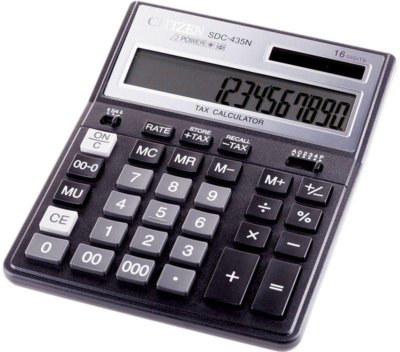 Citizen Настольный калькулятор цвет черный SDC-435NSDC-435NНастольный калькулятор имеет пять кнопок памяти, кнопку смены знака, удобные кнопки двойного и тройного нуля, функцию вычисления торговой наценки и налогов (MU) и (TAX), настройку представления десятичных чисел. Автоматическое отключение.