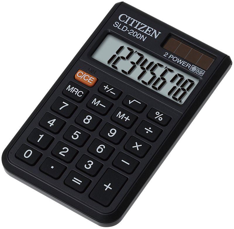 Citizen Карманный калькулятор цвет серый SLD-200NSLD-200NРежим автоотключения. Кнопки смены знака, вычисления корня, процентов, три кнопки памяти. Легкий вес. Картонная упаковка.