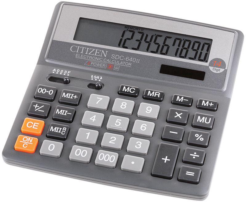 Citizen Настольный калькулятор SDC-640IISDC-640IIФиксированный угол наклона дисплея. Кнопки вычисления процента, смены знака, двойного нуля, две ячейки для хранения в памяти двух чисел. Функция вычисления с учетом торговой наценки (MU). Настройка представления десятичных чисел и округления значений. Режим автоотключения. Поставляется в картонной упаковке.