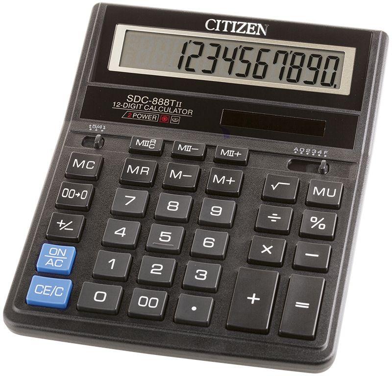 Citizen Настольный калькулятор SDC-888TII цвет черныйSDC-888TIIКультовая модель среди калькуляторов Citizen с наиболее удобным расположением кнопок. Фиксированный угол наклона дисплея. Кнопки вычисления процентов, смены знака, двойного нуля, две ячейки для хранения в памяти двух чисел. Функция вычисления с учетом торговой наценки (MU). Поставляется в картонной упаковке.