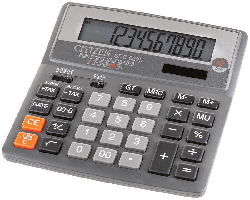 Citizen Настольный калькулятор SDC-620IISDC-620IIФункция вычисления с учетом торговой наценки (MU), функция расчета налогов (TAX), функция общего суммирования (GT). Настройка представления десятичных чисел и округления значений. Режим автоотключения. Клавиши смены знака, двойного нуля, правки числа. Поставляется в упаковке.