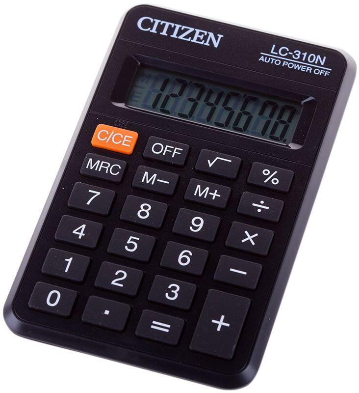 Citizen Карманный калькулятор цвет серый LC-310NLC-310NДисплей на 8 разрядов. Клавиши вычисления процентов, корня, три клавиши памяти, клавиша выключения, режим автоотключения. Размеры 69 х 113 х 23 мм. Вес 63 г.