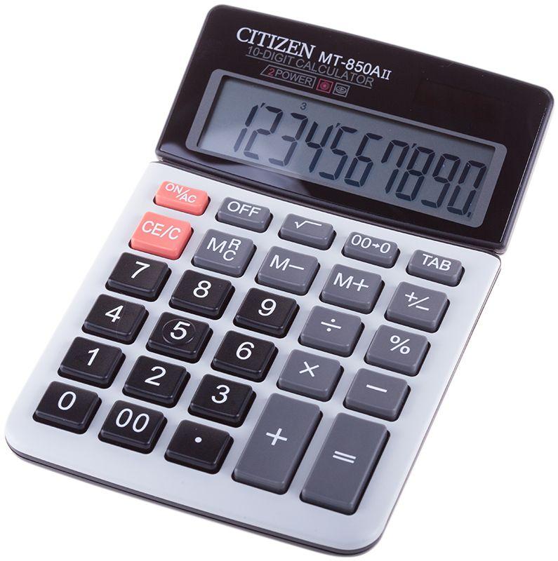Citizen Настольный калькулятор цвет белый синийMT-850AIIМалый настольный калькулятор, 10-ти разрядный, регулируемый дисплей, клавиша OFF, квадратный корень, расчет процентов, ячейка памяти, двойное питание.