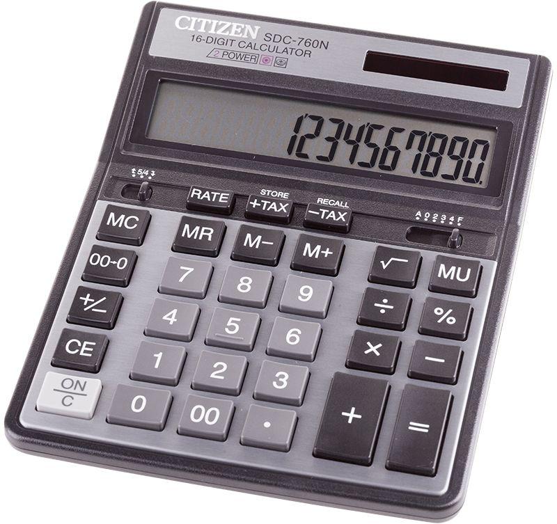 Citizen Настольный калькулятор цвет черный SDC-760NSDC-760NДелает вычисления с учетом торговой наценки и с учетом НДС. Имеет клавиши смены знака, три клавиши памяти, клавиши исправления числа, двойного нуля, настройки представления десятичных чисел и округления значений . Режим автотключения. Размеры 158 х 203,5 х 33 мм. Вес 231 г.