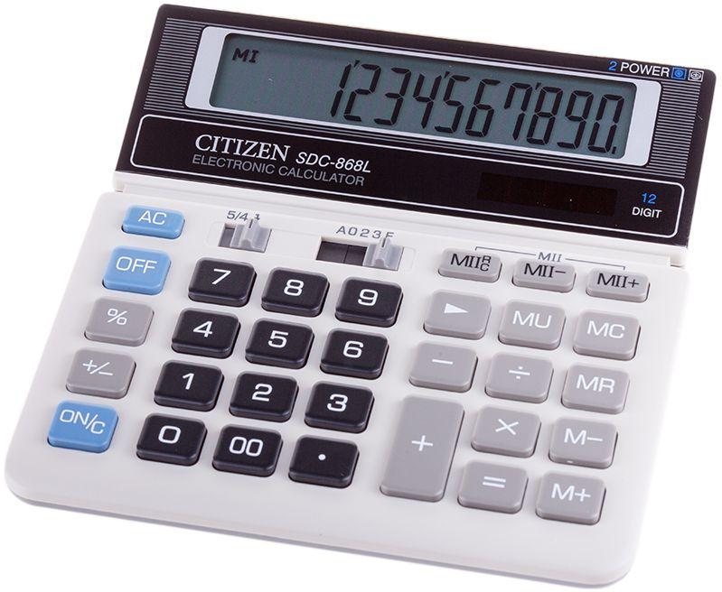 Citizen Настольный калькулятор SDC-868LSDC-868LКлавиши двойного нуля, вычисления процентов, клавиша смены знака. Две ячейки памяти для хранения двух чисел одновременно. Функция вычислений с учетом торговой наценки. Настройка представления десятичных чисел и округления значений. Режим автоотключения и кнопка отключения. Поставляется в упаковке.
