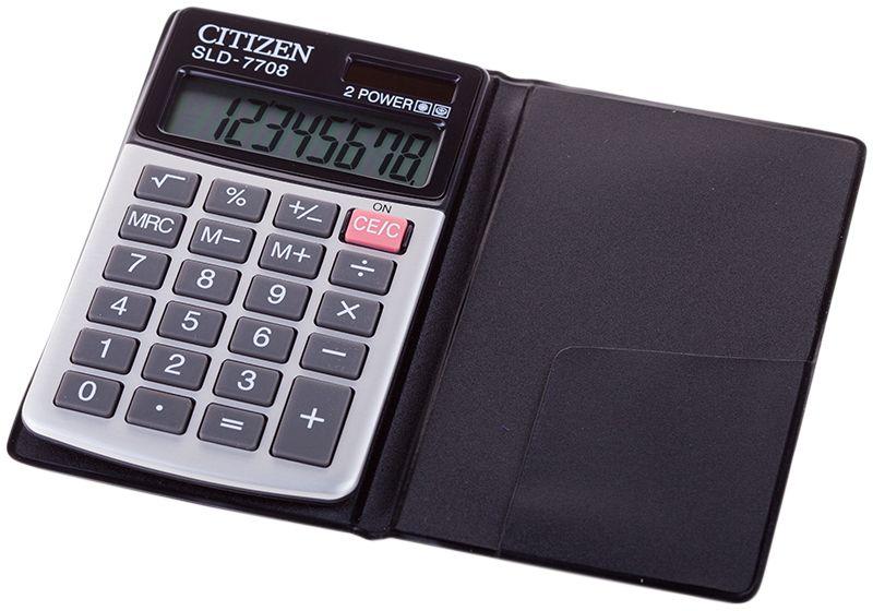 Citizen Карманный калькулятор цвет белыйSLD-7708Плоский однострочный экран. Двойное питание: солнечная и стандартная батарея CR2032. Имеет функцию вычисления квадратного корня, процентов, три клавиши памяти, клавишу смены знака памяти. Функция автоотключения. Размеры 64 х 105 х 10 мм. Вес 41 г.