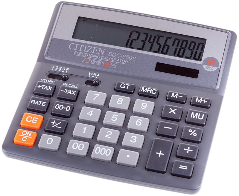Citizen Настольный калькулятор цвет черный SDC-660IISDC-660IIИмеет клавиши двойного и тройного нуля, вычисления процентов, клавиша смены знака, клавиша исправления числа. Функция вычислений с учетом торговой наценки, расчет с учетом НДС, функция общего суммирования всех предыдущих результатов. Настройка представления десятичных чисел и округления значений. Режим автоотключения. Поставляется в упаковке. Размеры 156 х 156 х 31,3 мм.
