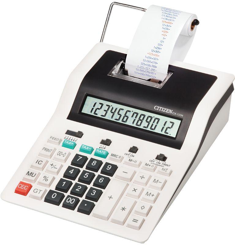 Citizen Настольный калькулятор CX-123NCX-123NДвухцветная печать, 3,0 линии в секунду. Снабжен клавишами: вычисления процентов, двойного нуля, смены знака, клавишей исправления числа, расчета с учетом торговой наценки и НДС, клавишей общего суммирования всех предыдущих результатов и промежуточной суммы. Имеет функцию подсчета элементов, две ячейки памяти для хранения двух чисел одновременно, настройку представления десятичных чисел и округления значений. Размеры 189 х 255 х 61 мм. Вес 739 г.