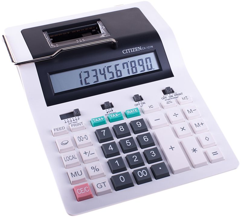 Citizen Настольный калькулятор CX-121NCX-121NДвухцветная печать, 2,4 линии в секунду. Имеет конвертер валют с программируемыми обменными курсами. Снабжен клавишами вычисления процентов, двойного нуля, смены знака, клавишей исправления числа, функции расчета с учетом торговой наценки и НДС, клавишей общего суммирования всех предыдущих результатов. Имеет настройку представления десятичных чисел, округления значения, режим автоотключения. Размеры 189 х 255 х 61 мм. Вес 728 г.