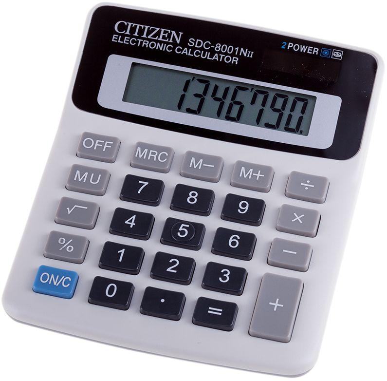 Citizen Настольный калькулятор SDC-8001NIISDC-8001NIIКомпактный калькулятор с набором самых необходимых функций: вычисление процентов, корня, смена знака, вычисления с учетом торговой наценки. Калькулятор имеет режим автоотключения и три клавиши памяти. Размеры 107 х 127 х 32 мм. Вес 87 г.