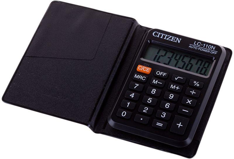 Citizen Карманный калькулятор LC-110N цвет серыйLC-110NПлоский однострочный экран. Тип батареи CR2032. Имеет функцию вычисления квадратного корня. Три кнопки памяти. Размеры 88 х 58 х 11 мм. Вес 31 г.