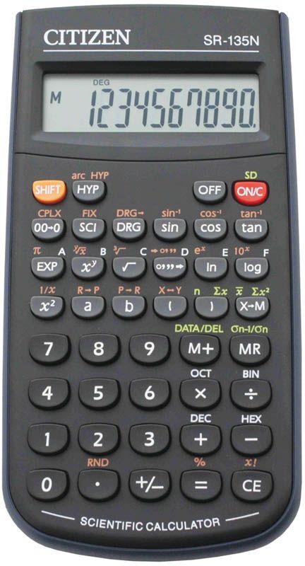Citizen Инженерный калькулятор цвет черный SR-135NSR-135NКалькулятор сертифицирован к использованию на ЕГЭ в системе «Учсерт» Российской Академии Образования. Допускается на ЕГЭ по физике, химии, географии. Выполняет арифметические действия, 128 математических функций, статистические расчеты, операции с двоичными, восьмеричными, десятичными и шестнадцатеричными числами. Имеет защиту памяти при отключении питания. От случайного нажатия клавиатуру защищает подвижная пластиковая крышка. Размеры 78 х 141 х 12 мм. Вес 118 г. Картонная упаковка.