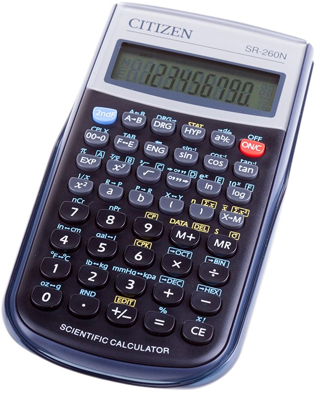 Citizen Инженерный калькулятор цвет черный SR-260NSR-260NКалькулятор сертифицирован к использованию на ЕГЭ в системе «Учсерт» Российской Академии Образования. Допускается на ЕГЭ по физике, химии, географии. Выполняет арифметические действия, 165 математических функций, статистические расчеты. Имеет память на 1 прошлое действие и защиту памяти при отключении питания. От случайного нажатия клавиатуру защищает подвижная пластиковая крышка. Цвет черный. Картонная упаковка.