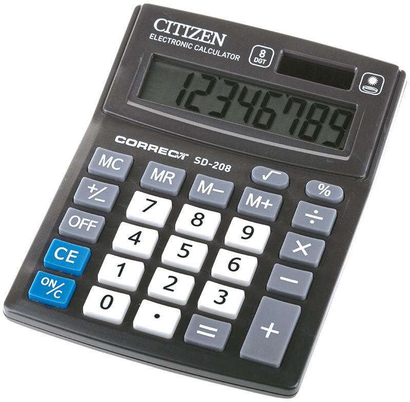 Citizen Настольный калькулятор цвет черный SD-208SD-208Малый настольный калькулятор, 8-ми разрядный, квадратный корень, расчет процентов, ячейка памяти, смена знака, двойное питание.
