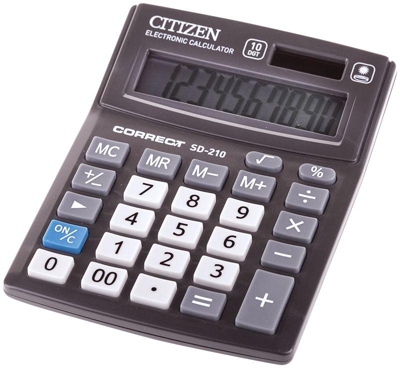 Citizen Настольный калькулятор SD-210SD-210Малый настольный калькулятор, 10-ти разрядный, квадратный корень, расчет процентов, ячейка памяти, смена знака, двойное питание.