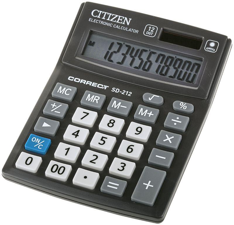 Citizen Настольный калькулятор цвет черный SD-212SD-212Малый настольный калькулятор, 12-ти разрядный, квадратный корень, расчет процентов, ячейка памяти, смена знака, двойное питание.