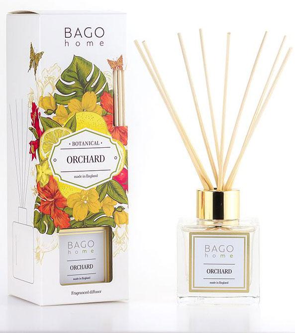 Диффузор ароматический BAGO home Фруктовый сад, 100 млJV0103-3Ароматический диффузор Фруктовый сад– это цветы и фрукты в Вашем доме на столе в любое время года. Это удивительное сочетание ярких красок лета и весенних ароматов цветов фруктовых деревьев. Это сочный вкус спелой брусники и терпкие брызги граната в букете. Это влажные капли на ветках сливы и вишни. Станьте владельцем фруктового сада, не выходя из дома Как пользоваться ароматическим диффузором?Откройте упаковку, достаньте содержимое. Откройте бутылочку, освободите палочки от скотча и вставьте в бутылочку. Интенсивность аромата можно регулировать количеством вставленных палочек. Также для достижения более насыщенного аромата, время от времени переворачивайте палочки и заново вставляйте в бутылочку.