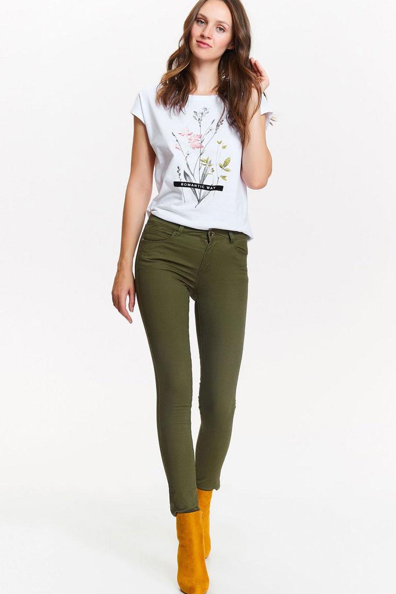 Брюки женские Top Secret, цвет: зеленый. SSP2643ZI. Размер 42 (50)SSP2643ZIСтильные женские брюки от Top Secret выполнены из эластичного хлопка. Модель зауженного кроя в поясе застегивается на пуговицу и имеет ширинку на молнии. Имеются шлевки для ремня. Брюки имеют классический пятикарманный крой.