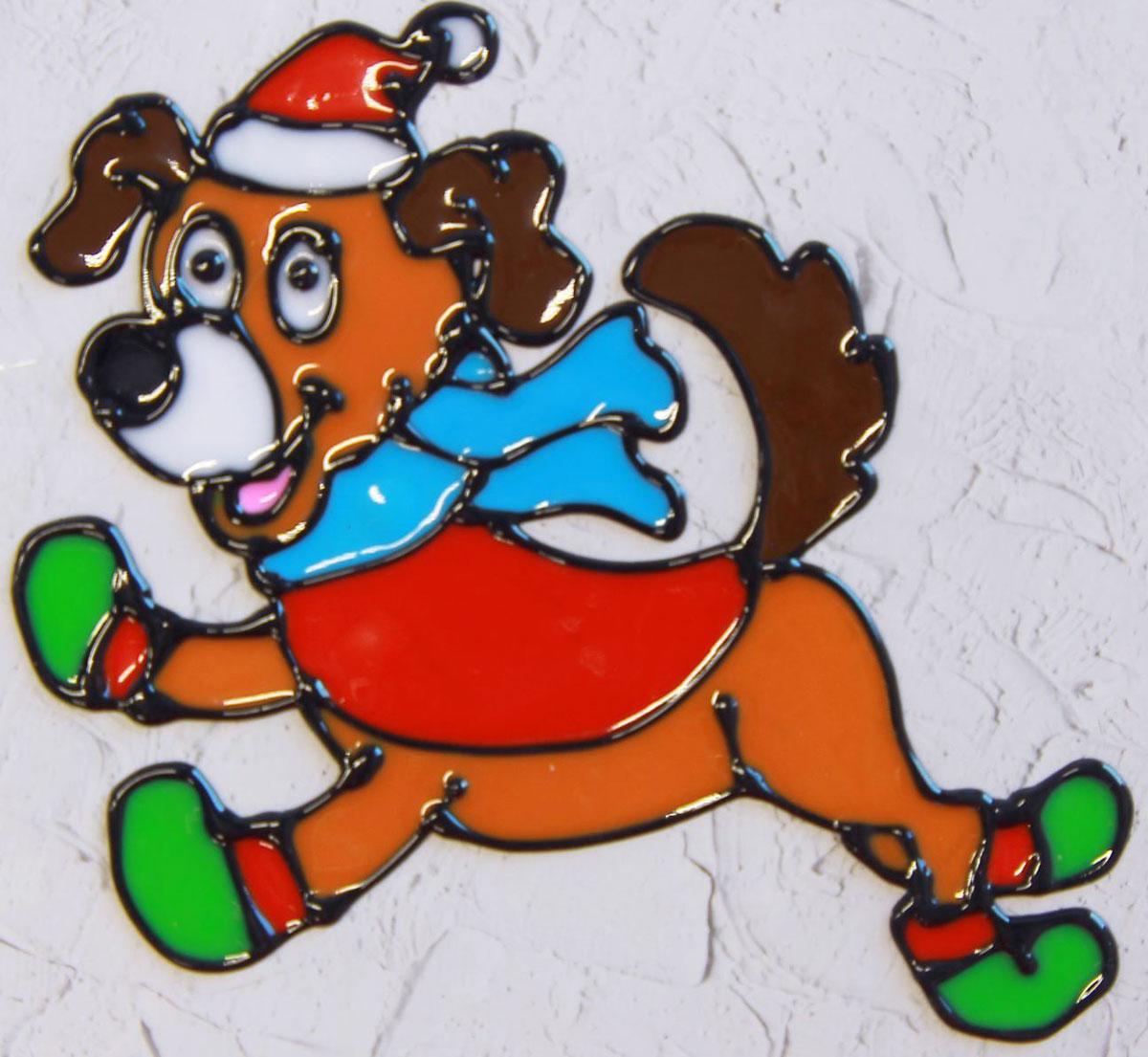 Украшение новогоднее оконное Веселая собачка, 10,5 х 11 см2377869Новогоднее оконное украшение Веселая собачка поможет украсить дом к предстоящим праздникам. Яркая наклейка крепится к гладкой поверхности стекла посредством статического эффекта. С помощью такого украшения вы сможете оживить интерьер по своему вкусу. Новогодние украшения всегда несут в себе волшебство и красоту праздника. Создайте в своем доме атмосферу тепла, веселья и радости, украшая его всей семьей.