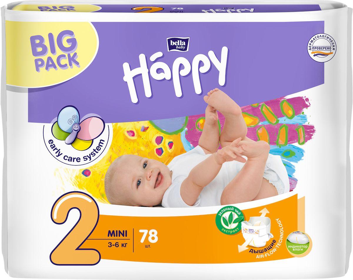 Bella Подгузники для детей Baby Happy, размер Mini 2 (3-6 кг), 78 шт bella влажные салфетки baby happy алое вера 56 шт