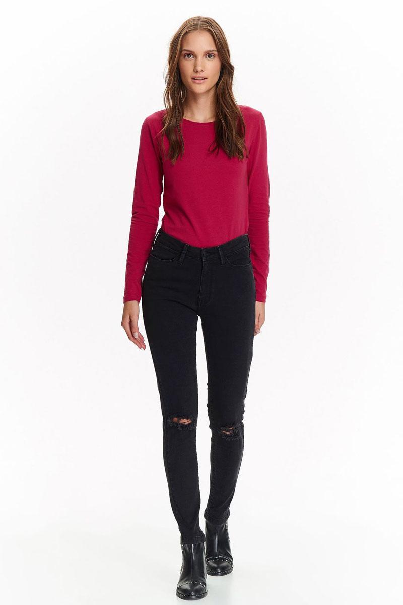 Брюки женские Top Secret, цвет: черный. SSP2665CA. Размер 36 (44)SSP2665CAСтильные женские брюки от Top Secret выполнены из эластичного хлопка. Модель зауженного кроя в поясе застегивается на пуговицу и имеет ширинку на молнии. Имеются шлевки для ремня. Брюки, декорированные на коленях рваным эффектом, спереди дополнены двумя втачными карманами, сзади- двумя накладными карманами.