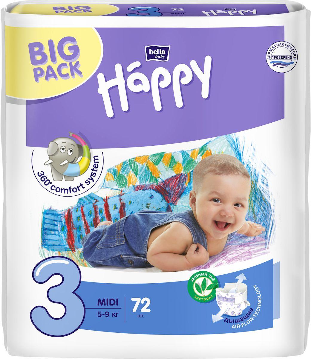 Bella Подгузники для детей Baby Happy размер Midi 3 5-9 кг 78 шт - Подгузники и пеленки