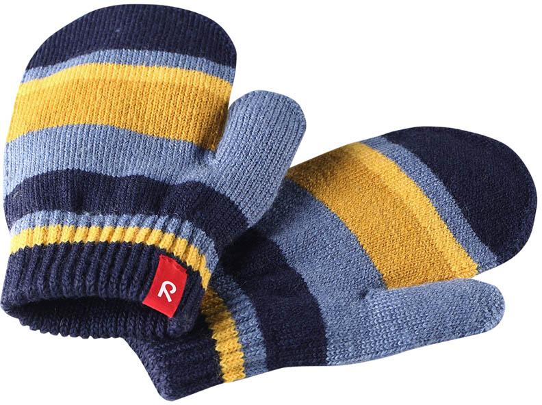 Варежки детские Reima Stig, цвет: синий, желтый. 527273698A. Размер 1527273698AВарежки Reima Stig выполнены из упругой шерстяной смесовой пряжи, которая дарит тепло и ощущение комфорта ранней осенью. Манжеты связаны резинкой и оформлены текстильным ярлычком с названием бренда. Варежки идеально подходят для носки под водонепроницаемыми рукавицами.