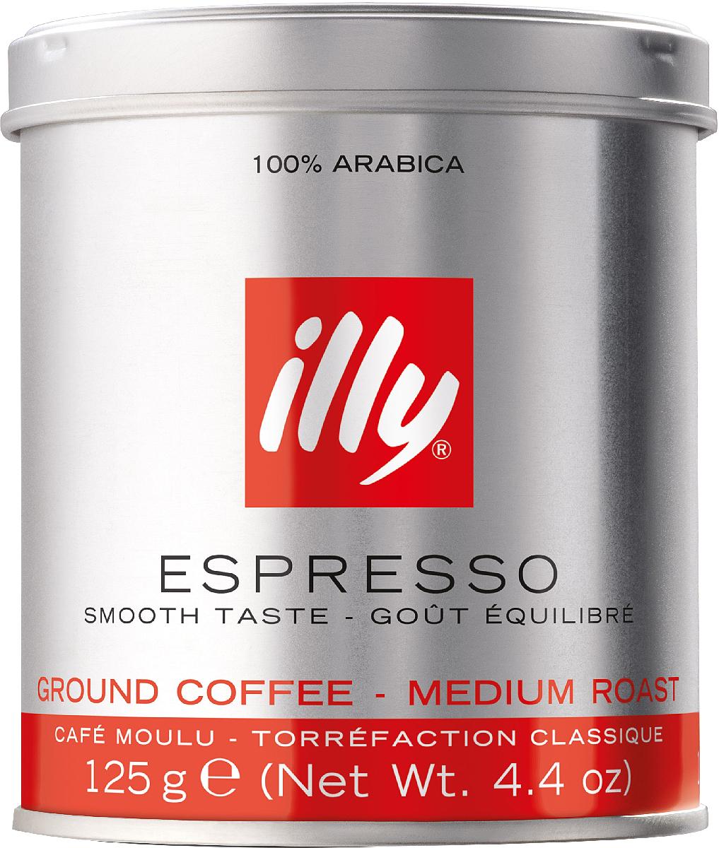 Illy Espresso кофе молотый средней обжарки, 125 г6844 (0722)Отличительный вкус illy: сбалансированный, мягкий и бархатистый, с приятной сладостью, нотами фруктов, карамели и шоколада. Подходит для любых способов приготовления.Кофе: мифы и факты. Статья OZON Гид