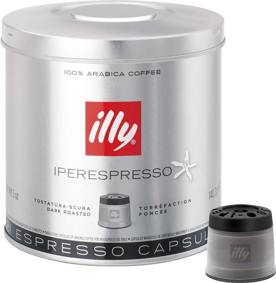 Illy Iperespresso кофе в капсулах темной обжарки, 21 шт6861 (3789)Насыщенный вкус, с ароматом поджаренного хлеба и послевкусием темного шоколада. Рекомендуется для ристретто, а также для приготовления кофе с молоком.