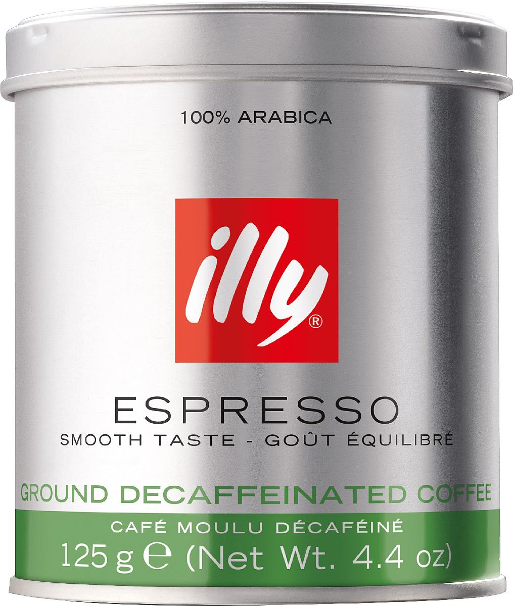 Illy Espresso Decaffeinato кофе молотый без кофеина, 125 г6866 (0475)Тот же узнаваемый вкус, что у средней обжарки, со всеми преимуществами кофе без кофеинаКофе: мифы и факты. Статья OZON Гид