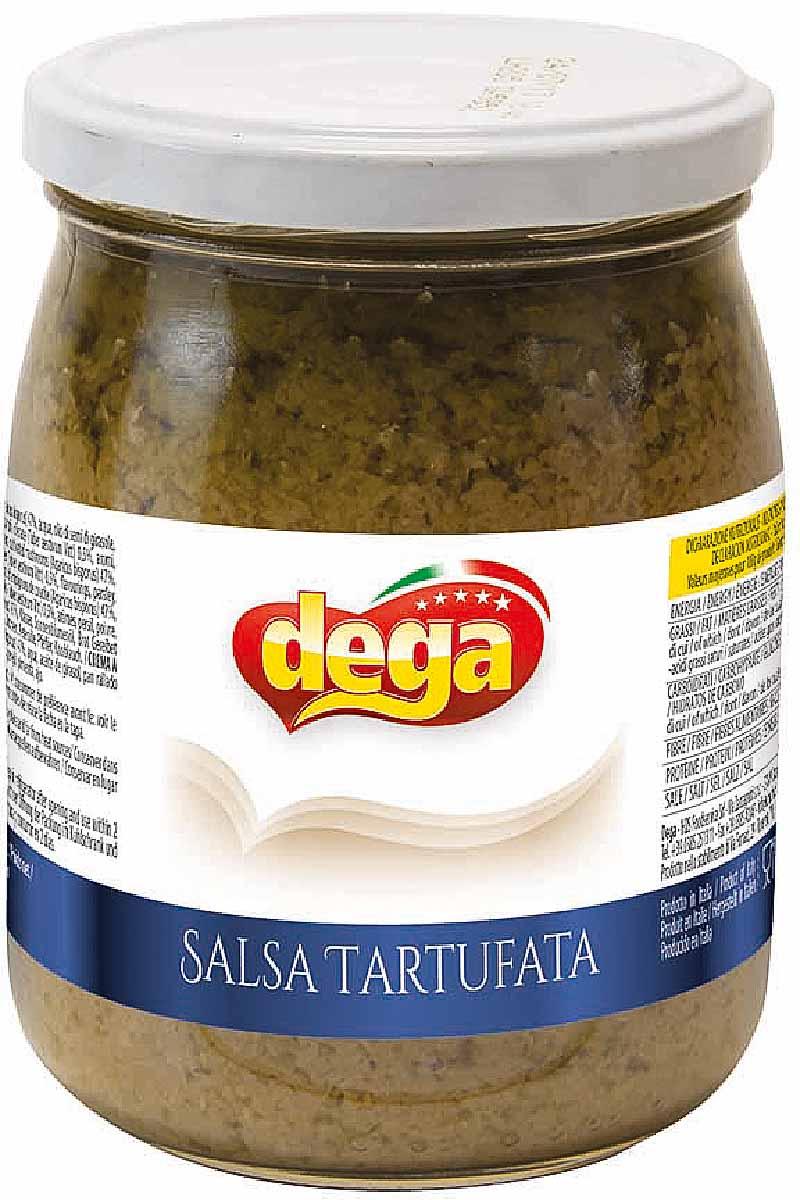 Dega Сальса Тартуфата соус с трюфелем грибной, 500 гDG1349Сливочный соус, приготовленный из шампиньонов двуспоровых, тонко нарезанных, растопленных, обогащенный ароматом и вкусом цельных черных трюфелей. Прекрасно подходит для ризотто, пасты, вторых блюд из мяса, пиццы, фокаччо и брускет.