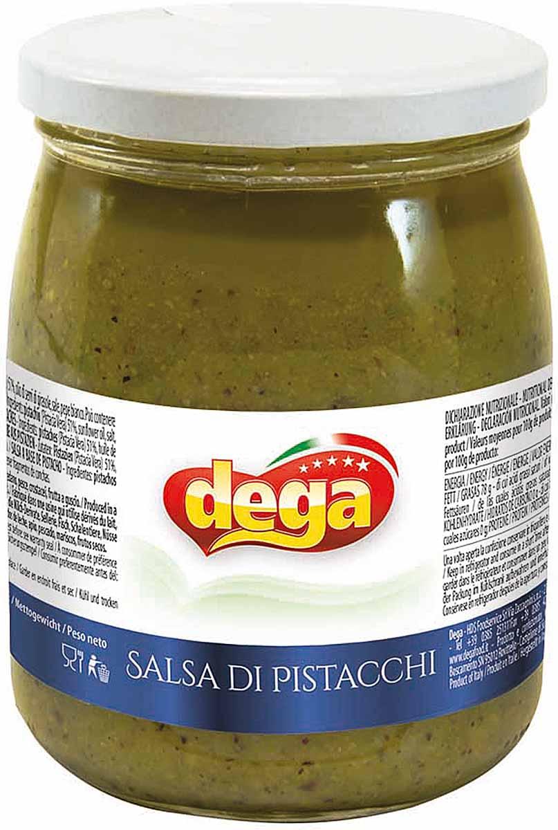 Сливочный соус из тонко измельченных и расплавленных фисташек из Бронте (Сицилия), обогащенный белым перцем. Идельно подходит к приготовления пасты, в том числе с морепродуктами.