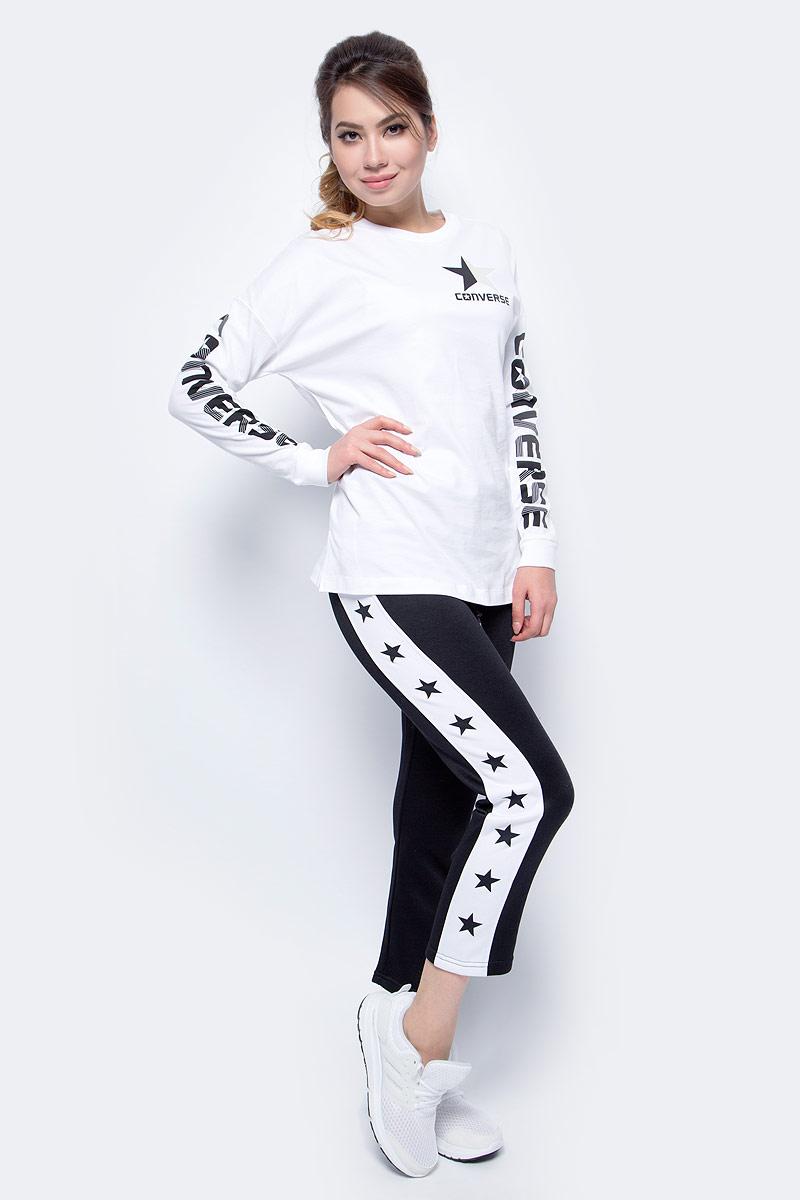 Брюки спортивные женские Converse Star Print CP Pant, цвет: черный. 10004495001. Размер XS (42) брюки спортивные мужские converse converse mixed media jogger цвет черный 10004684001 размер l 50