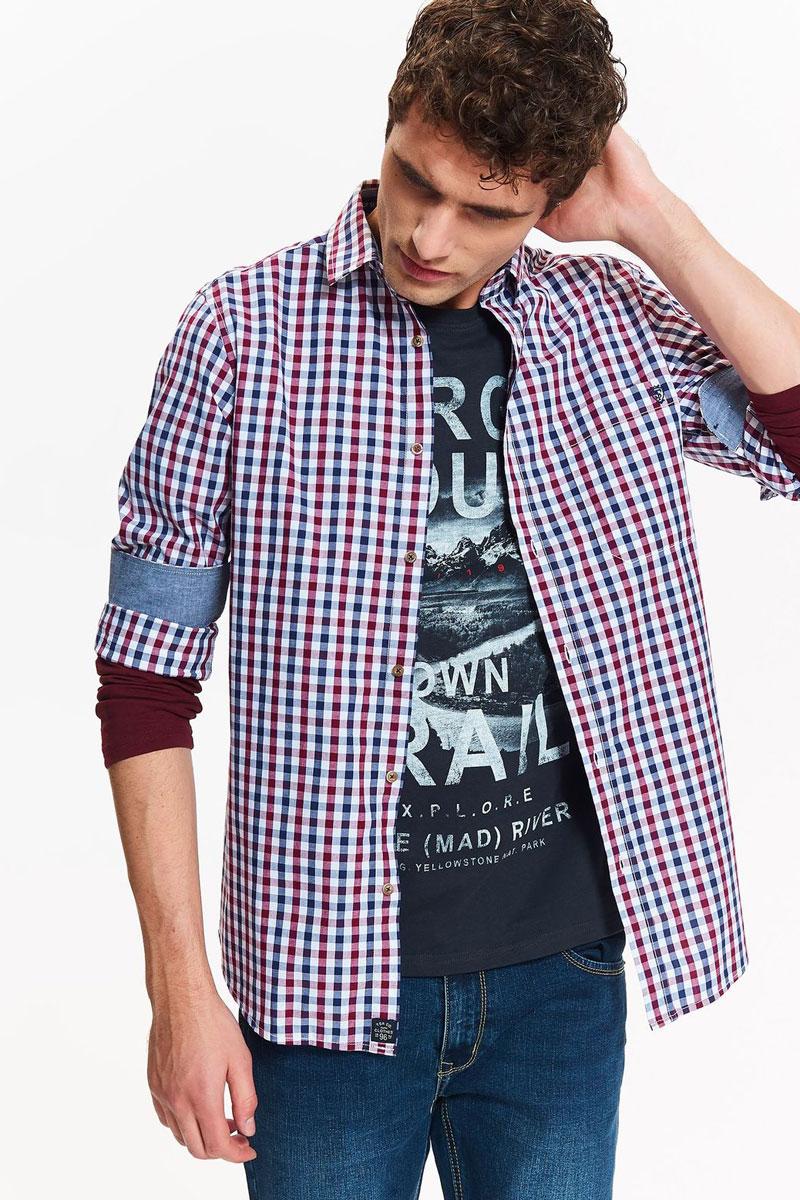 Рубашка мужская Top Secret, цвет: красный. SKD0142CE. Размер 40/41 (48) свитер с длинным рукавом quelle top secret 1022456