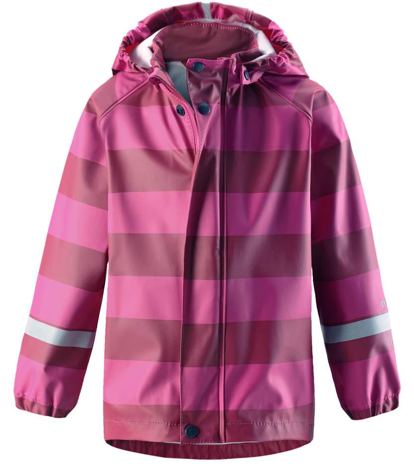 Дождевик для девочки Reima Vesi, цвет: розовый. 5215234624. Размер 1285215234624Дождевик изготовлен из удобного, эластичного материала, не содержащего ПВХ. Швы запаяны и абсолютно водонепроницаемы. Съемный капюшон защитит от ливня, при этом он безопасен во время прогулок в дождливый день. Молния спереди во всю длину и множество светоотражающих деталей. Сочетайте куртку с брюками для дождя Reima и вы заметите - в дождь играть еще веселее!