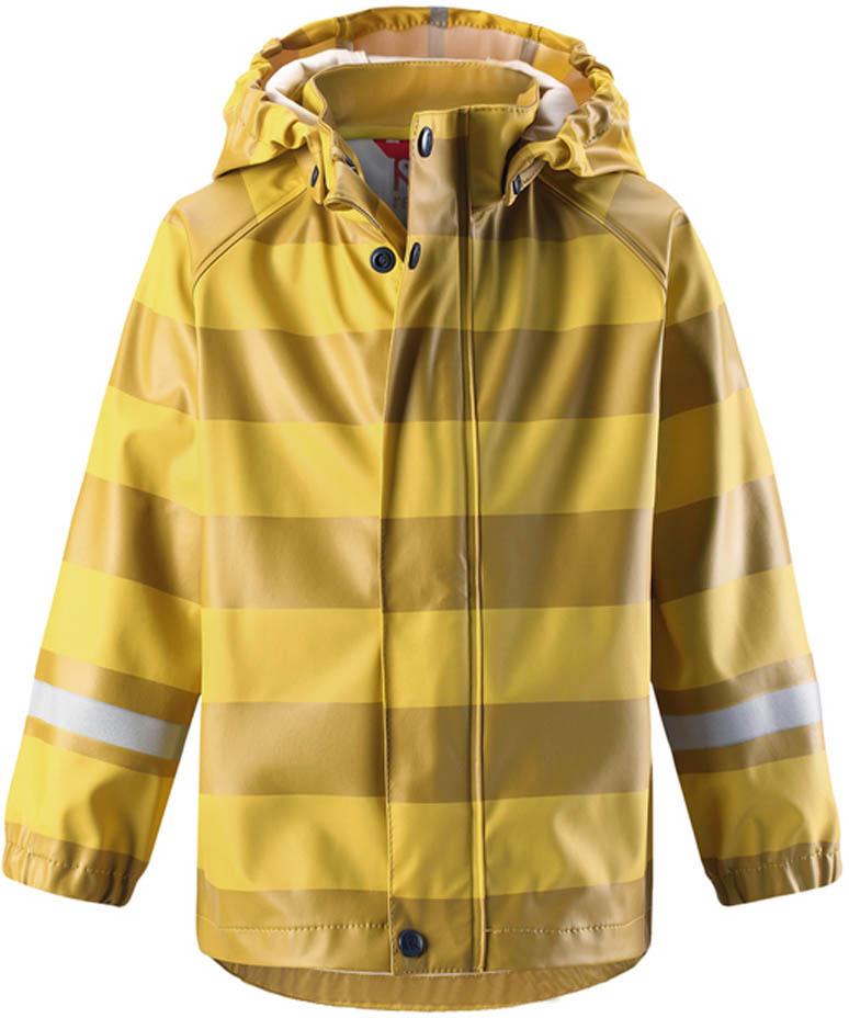 Дождевик детский Reima Vesi, цвет: желтый. 5215232391. Размер 985215232391Дождевик изготовлен из удобного, эластичного материала, не содержащего ПВХ. Швы запаяны и абсолютно водонепроницаемы. Съемный капюшон защитит от ливня, при этом он безопасен во время прогулок в дождливый день. Молния спереди во всю длину и множество светоотражающих деталей. Сочетайте куртку с брюками для дождя Reima® и вы заметите – в дождь играть еще веселее!