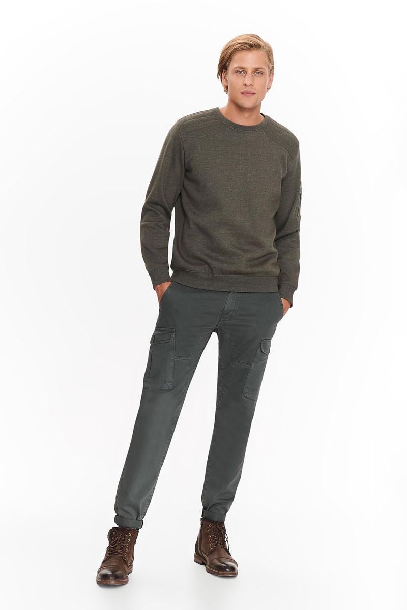 Джемпер мужской Top Secret, цвет: зеленый. SBL0517ZI. Размер XL (48)