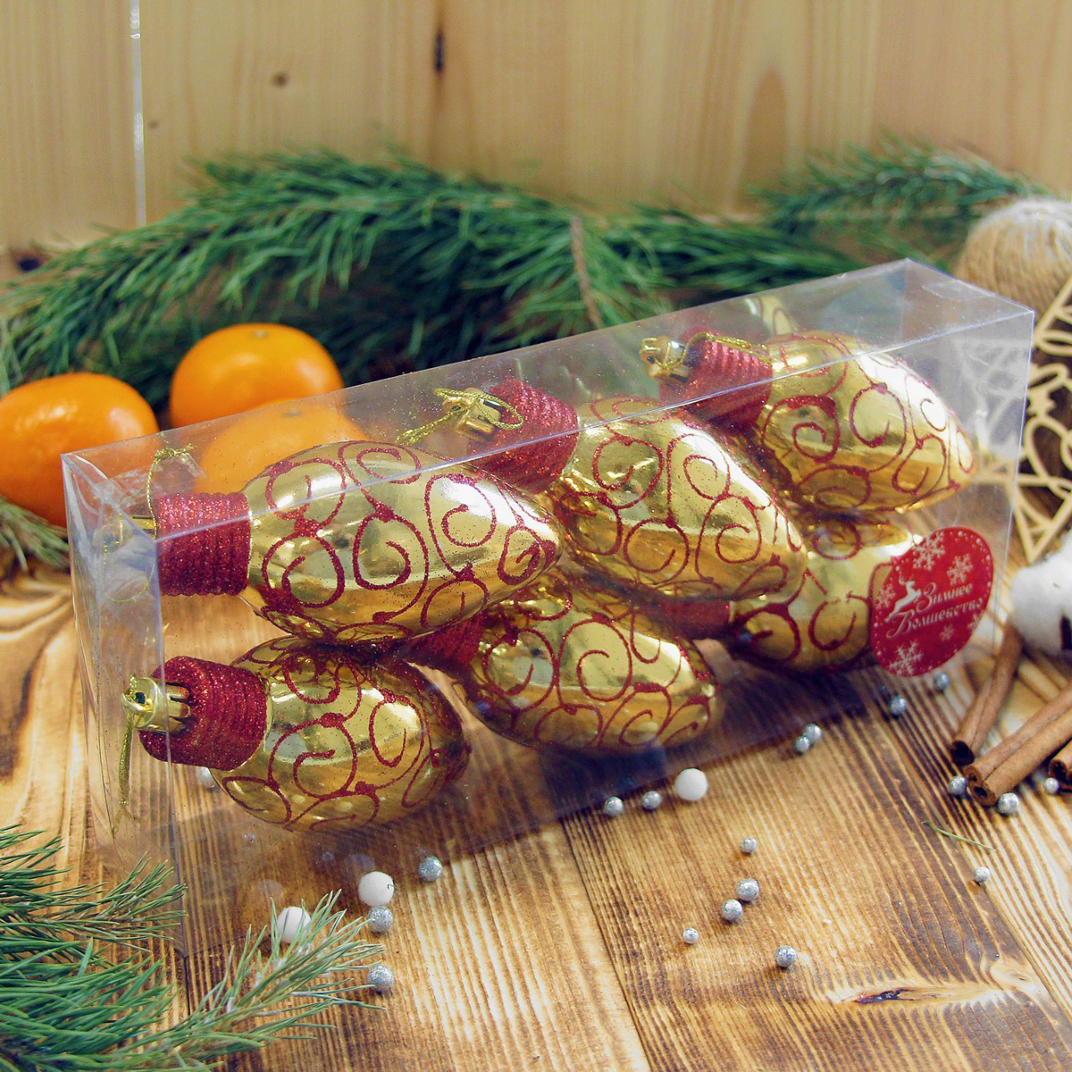 Набор новогодних подвесных украшений Лампочка с красным узором, 5 х 9 см, 6 шт2372123Набор новогодних подвесных украшений отлично подойдет для декорации вашего дома и новогодней ели. С помощью специальной петельки украшение можно повесить в любом понравившемся вам месте. Но, конечно, удачнее всего оно будет смотреться на праздничной елке.Елочная игрушка - символ Нового года. Она несет в себе волшебство и красоту праздника. Такое украшение создаст в вашем доме атмосферу праздника, веселья и радости.