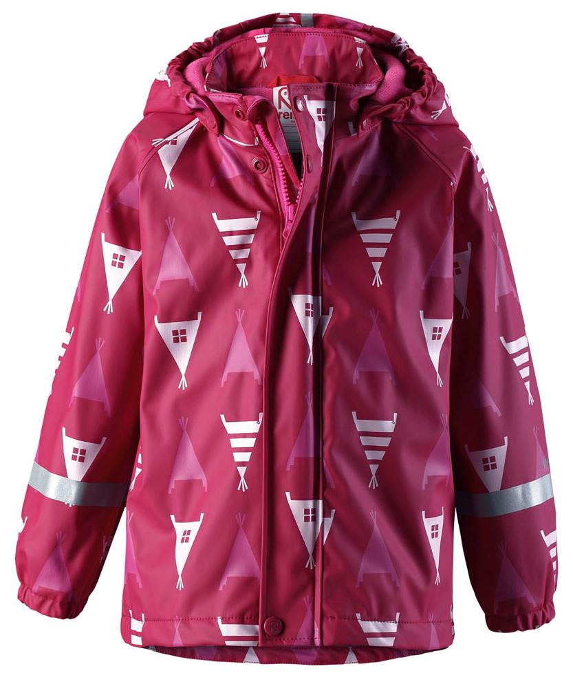 Дождевик для девочки Reima Koski, цвет: розовый. 5215073927. Размер 1045215073927Дождевик Koski изготовлен из эластичного материала, не деревенеющего на морозе. Модель дополнена теплой флисовой подкладкой. Все швы запаяны, водонепроницаемы, так что внутрь не просочится ни одной дождинки. Съемный капюшон обеспечивает дополнительную безопасность во время активных прогулок - кнопки капюшона легко отстегнутся, если он случайно за что-нибудь зацепится. Эластичные манжеты и светоотражающие детали на рукавах и капюшоне.