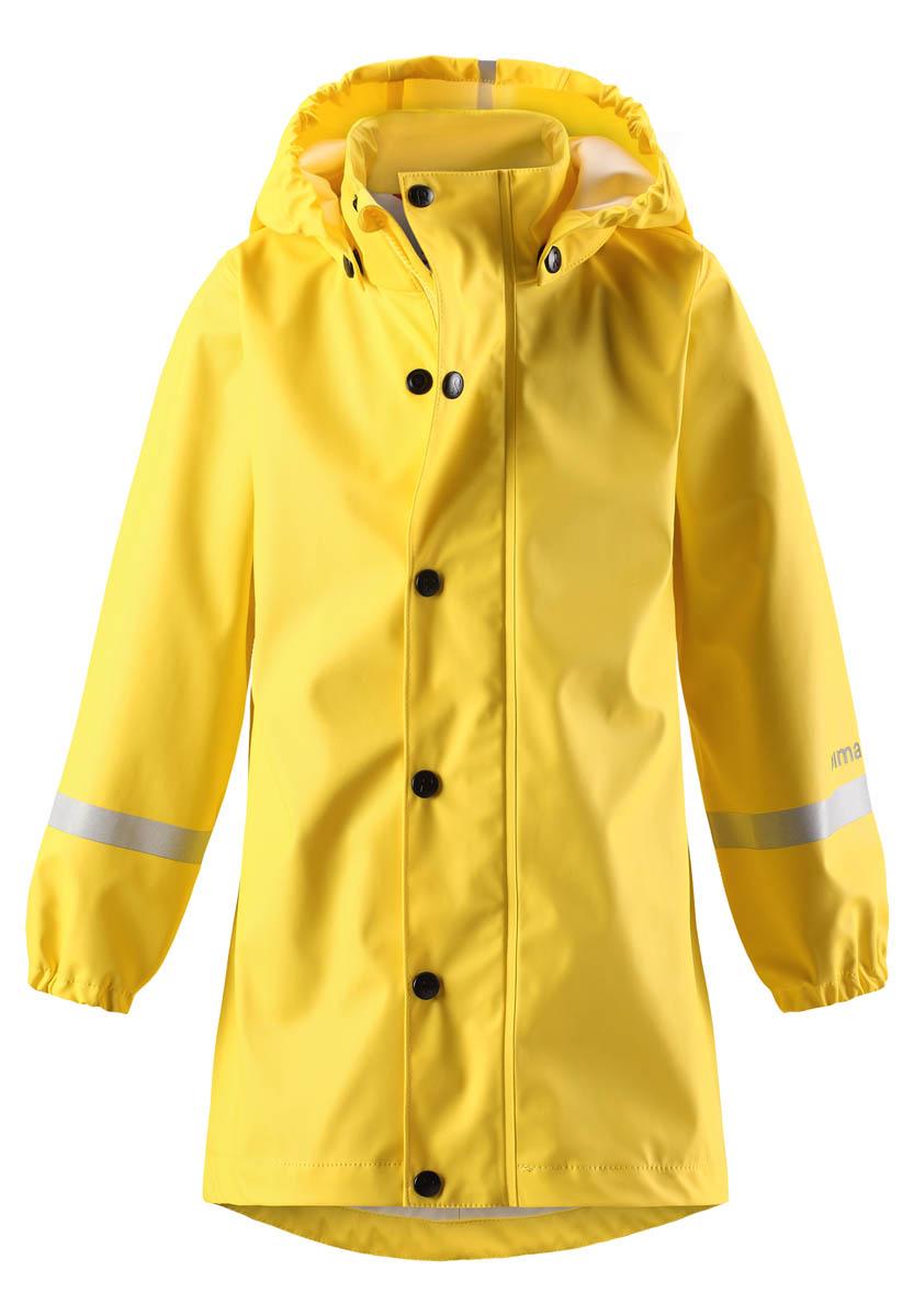 Дождевик детский Reima, цвет: желтый. 5215062350. Размер 1405215062350Дождевик выполнен из эластичного материала, не содержащего ПВХ. Швы запаяны и абсолютно водонепроницаемы. Трапециевидный силуэт с удлиненной спинкой обеспечивает эффективную защиту от дождя. Съемный капюшон защитит даже от ливня, при этом он безопасен во время прогулок в дождливый день.